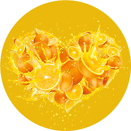 Sunquick orange splash heart